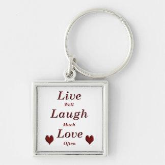 Live Laugh Love Silver-Colored Square Keychain