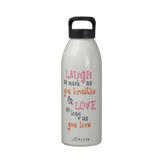 Live laugh love simple quote water bottle