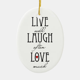 Live laugh love simple text Double-Sided oval ceramic christmas ornament