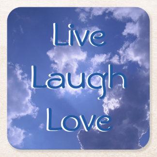 Live Laugh Love Sky Custom Square Coasters
