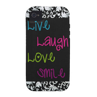 Live, Laugh, Love, Smile Damask iPhone 4 Cover