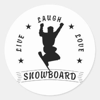 Live Laugh Love SNOWBOARD black text Classic Round Sticker