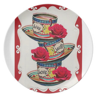 Live Laugh Love Stacked Teacups Plate