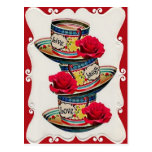 Live Laugh Love Stacked Teacups Postcard