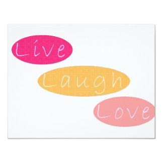 "Live Laugh Love Stationery 4.25"" X 5.5"" Invitation Card"