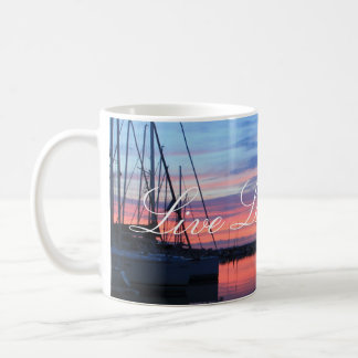 Live Laugh Love Sunset Sailboats Mug