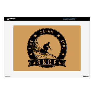 "Live Laugh Love Surf 2 (Black Circle) 15"" Laptop Skin"