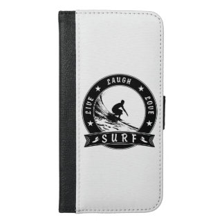 Live Laugh Love Surf 2 (Black Circle) iPhone 6/6s Plus Wallet Case