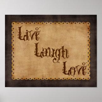 Live Laugh Love Tan on Chocolate Print