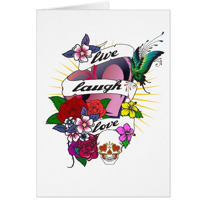 Live, Laugh, Love Tattoo Design Card