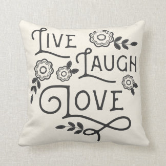Live Laugh Love Throw Pillow - Gray and Cream