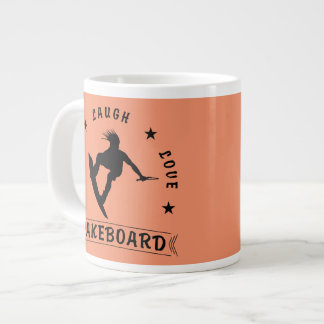 Live Laugh Love  WAKEBOARD 1 black text Giant Coffee Mug