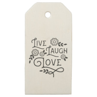 Live Laugh Love Wood Gift Tags