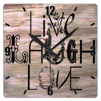 Live laugh love wooden rustic sign wall clock