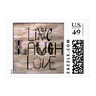 Live laugh love wooden sign postage stamps