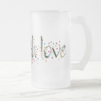 Live, Laugh, Love Words Frosted Glass Beer Mug