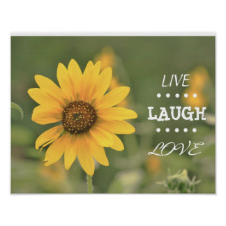 "Live Laugh Love Yellow Flower 14x11"" Poster"