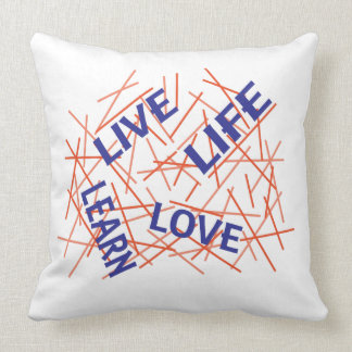 Live Learn Love Life Blue/Orange Throw Pillow