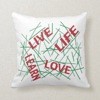 Live Learn Love Life Green/Red Throw Pillow