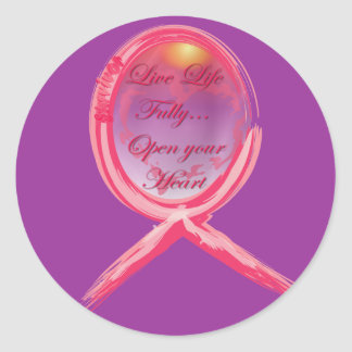 Live Life Fully: Breast Cancer Pink Ribbon Classic Round Sticker