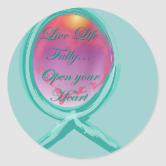 Live Life Fully Teal Ribbon Classic Round Sticker