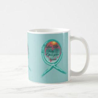 Live Life Fully Teal Ribbon Coffee Mug