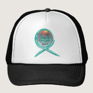 Live Life Fully Teal Ribbon Trucker Hat