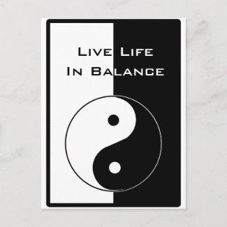 Live Life in Balance zazzle_postcard