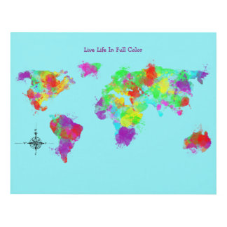 Live Life In Full color Map Design Panel Wall Art