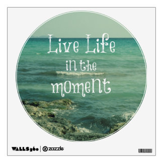 Live Life in the Moment Quote with Beach Theme Wall Decals