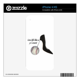Live life like a 3-1 count decals for iPhone 4S