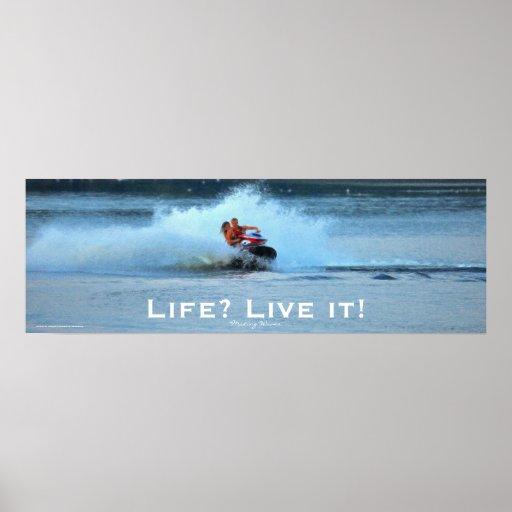 Live Life Motivational Jet-ski Summer Sports Art Poster