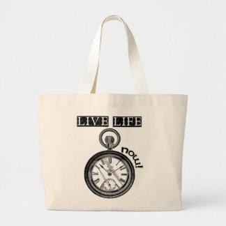 Live life now tote bag