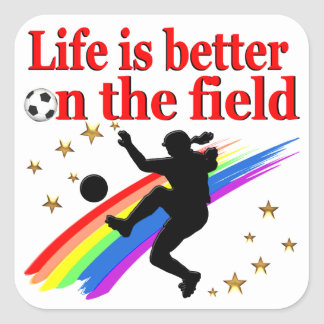LIVE LIFE ON THE SOCCER FIELD SQUARE STICKER