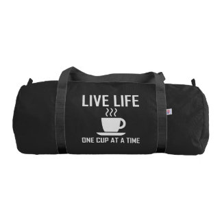 Live Life One Cup At A Time Coffee Tea Drinker Duffle Bag