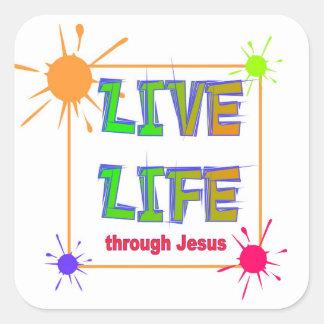 Live Life through Jesus Christian Square Sticker