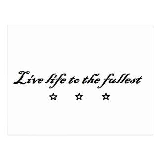 live life ton the fullest postcard