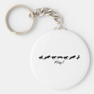 Live like a dog. Play! Keychain