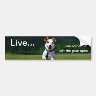 Live Like Someone Left Gate Open Bumper Sticker Car Bumper Sticker