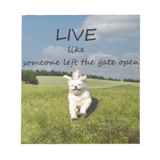 """""""Live Like Someone Left the Gate Open"""" Notepad"""