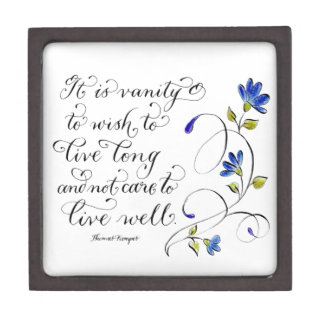 Live Long live well inspirational quote typography Jewelry Box