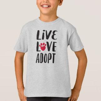 Live. Love. Adopt Kid's Pet Adoption T-Shirt