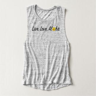 Live, Love, Aloha Flowy Muscle Tank Top