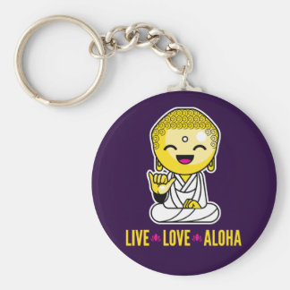 Live Love Aloha Funny Buddha cartoon Keychain