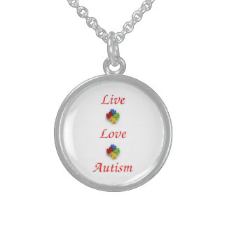 Live ~ Love ~ Autism Sterling Silver Necklace