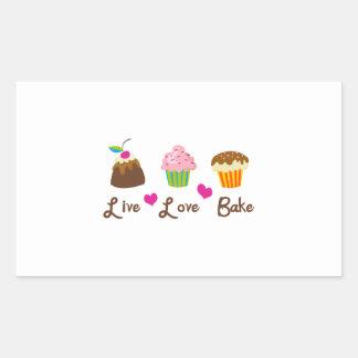 LIVE LOVE BAKE RECTANGULAR STICKERS