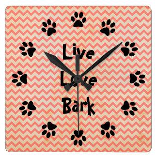 Live Love Bark Red Chevron Wall Clock