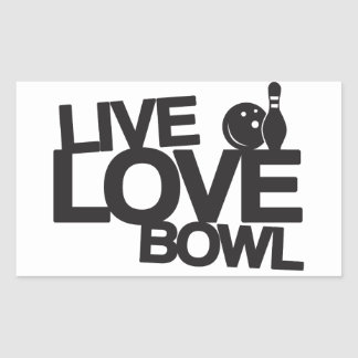 Live Love Bowl | Bowling Rectangular Sticker
