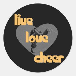 Live love cheer round stickers