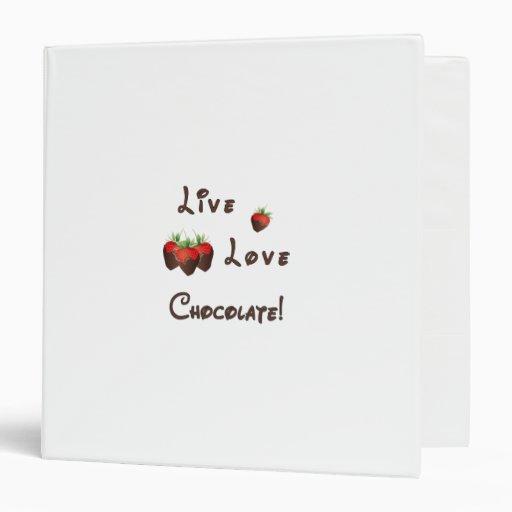 Live Love Chocolate 3 Ring Binder